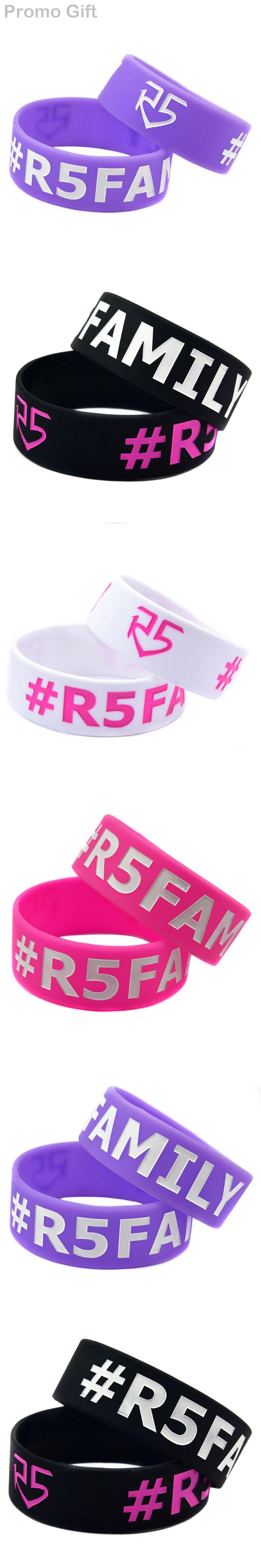"Promo Gift 1PC 1"" Wide Band R5 Family Rock Band Bracelet Silicone Wristband for Fans"