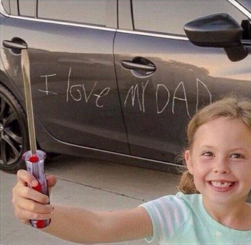 This would be such a good prank .. Have your kid write on the car with a white marker pen and take this picture with the screwdriver haha