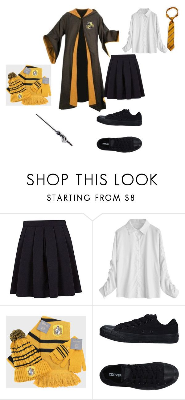"""""""hufflepuff school uniform"""" by shannon-tilley on Polyvore featuring George and Converse"""
