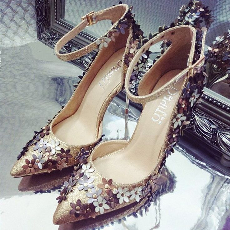 Grace women bling sequin flower studded pointed toe buckles strappy stilettos .  #unbranded #strappy