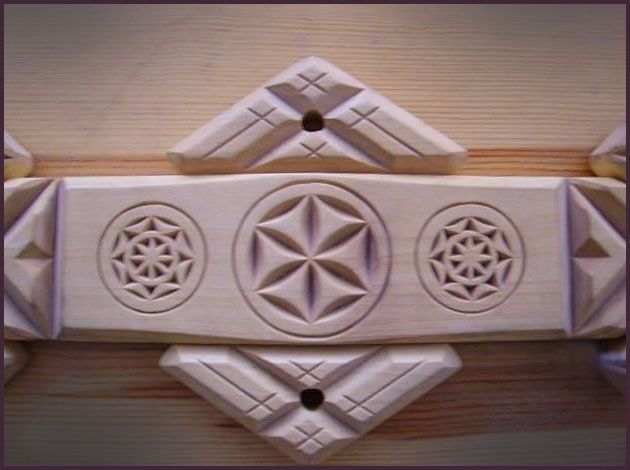 Карниз. Центральна частина. Дерево. Геометрична різьба. Eaves. The central part. Wood. Geometric carving.