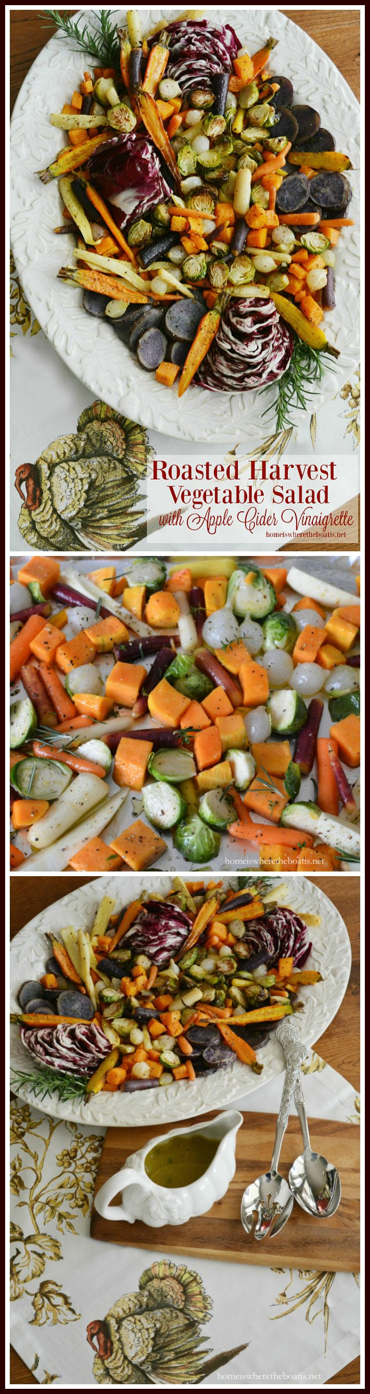 Roasted Harvest Vegetable Salad with Apple Cider Vinaigrette, a healthy and colorful addition to your Thanksgiving feast! | homeiswheretheboatis.net #Thanksgiving #side #healthy