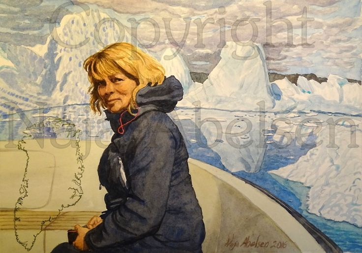 Portrait for private customer. We met in Greenland on this boattrip, and afterwards they gave me this commission. Watercolour. 34 x 24,5 cm.  By Naja Abelsen. 2016