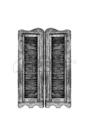 Régi fából nyugati lengő Szalon ajtók elszigetelt fehér photo