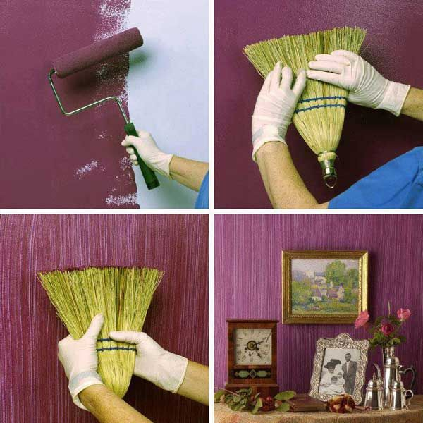 19 Awesome and Creative Ideas for your Walls: 6. Broom Brush
