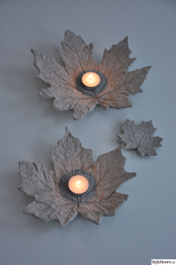 Big concrete leaf candle holder