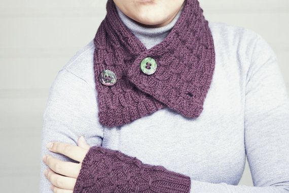 SALE 20  Eggplant color  soft warm hand knitted neck by RGideas, $46.40