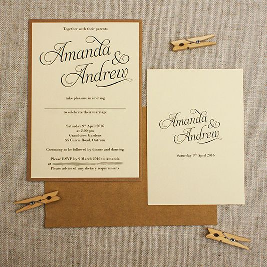 Simple and Elegant Cream rustic Wedding Invitation