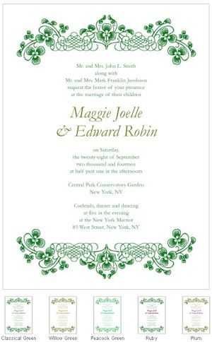 Luck Of The Irish Wedding Invitations (Set Of 4   5 Colors) From Wedding