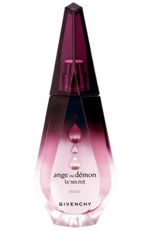 Ange ou Demon Le Secret Elixir Givenchy for women is a deeper, richer and more sensual version which reportedly brings seductiveness of the original to its climax.  The composition is a floral with a bitter beginning and a wooden background of patchouli. It opens with freshness of Italian lemon, green tea and neroli. The heart is made of white flowers such as Sambac jasmine, orange blossom and frangipani. The base notes are vanilla, patchouli, cedar and white musk.