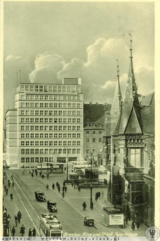 Rynek, pierzeja południowa widokówka nadana w 1937 r.