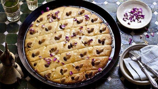 Basbousa with pistachio and almond.