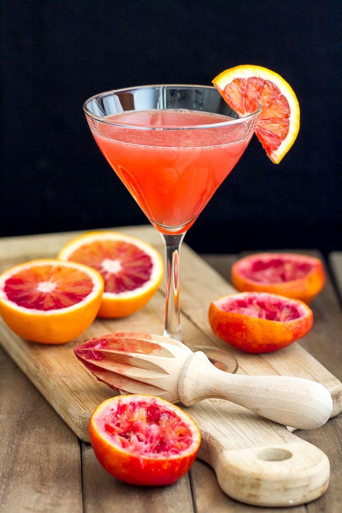 This Blood Orange Martini recipe has fresh blood orange juice, pear vodka, ginger liqueur and limoncello. Unique and tasty!