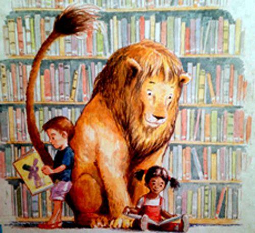 """Illustrazione di Kevin Hawkes, """"Un leone in biblioteca"""", Nord-Sud"""