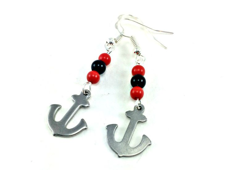 Rockabilly Kitsch Silver Anchor Beaded Earrings 1950s Retro by KitschBride on Etsy
