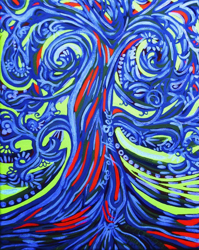 Tree of sea Tempera and fluorescent pigments on canvas. 2016. 24 х 18 cm Photo in black light