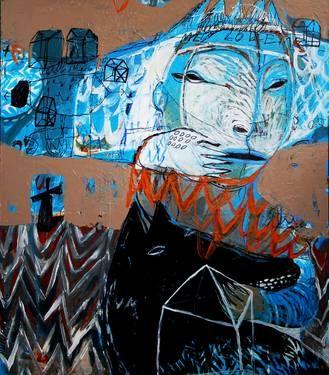 "Saatchi Art Artist Rusudan Khizanishvili; Painting, ""Sputnik Sweetheart"" #art"