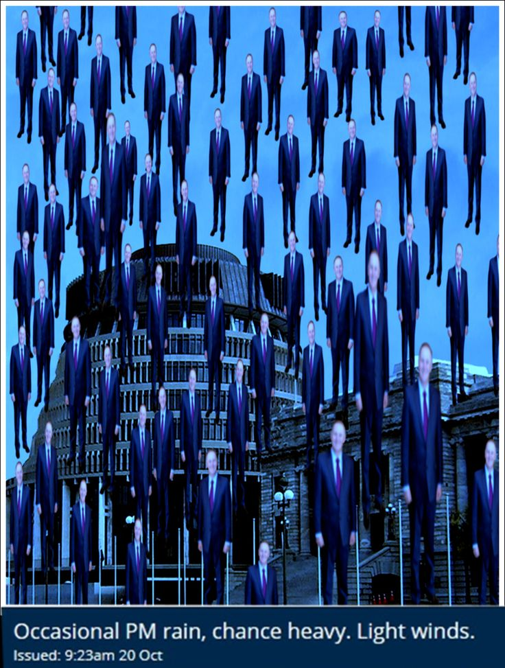 Occasional PM rain; by Lousephyr metservice forecast for the day so created photomanipulation of local PM in  René Magritte's  Golconda style