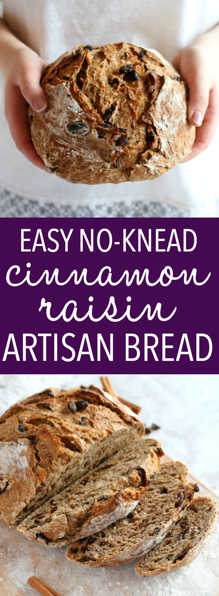 This Easy No Knead Cinnamon Raisin Artisan Bread is crusty on the outside, tender and fluffy on the inside and packed with sweet cinnamon flavour and juicy raisins. And it's SO easy to make this bakery-style loaf at home in your own kitchen! Recipe from thebusybaker.ca! #bakerybread #nokneadbread #artisanbread #bestcinnamonraisinbread via @busybakerblog