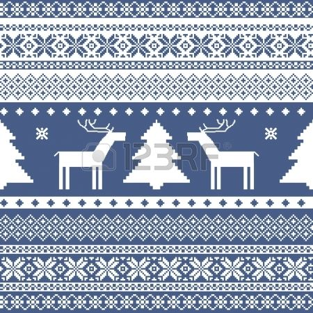 Seamless knitted ornamental pattern traditional christmas motifs Stock Vector