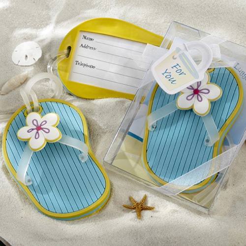 Flip Flop Luggage Tags - could do double duty as seating place cards and favors :)