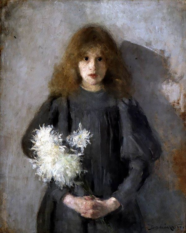GIRL WITH CHRYSANTHEMUMS by Olga Boznańska (painted in 1894) | Impressionism | Oil on canvas | 88.5 × 69 cm (34.8 × 27.2 in) | National Museum, Kraków, Poland