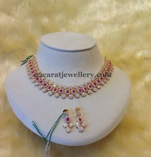 Jewellery Designs: Diamond Ruby Flower Choker