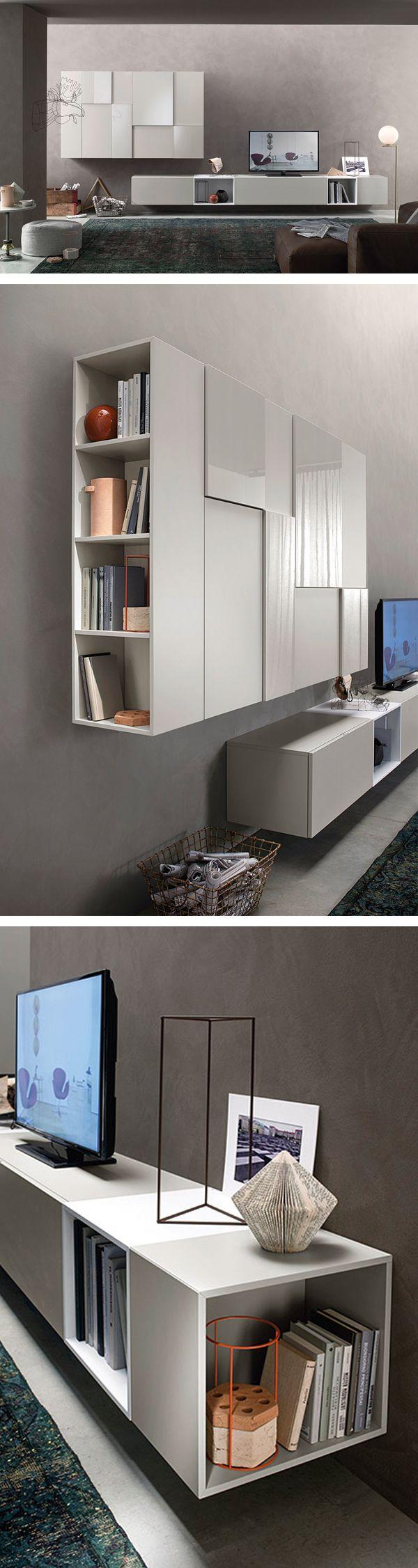 Die Design Wohnwand C07 Hat Eine Matte Und Teils Glänzende Oberfläche Mit  Unterschiedlichen Stärken. #