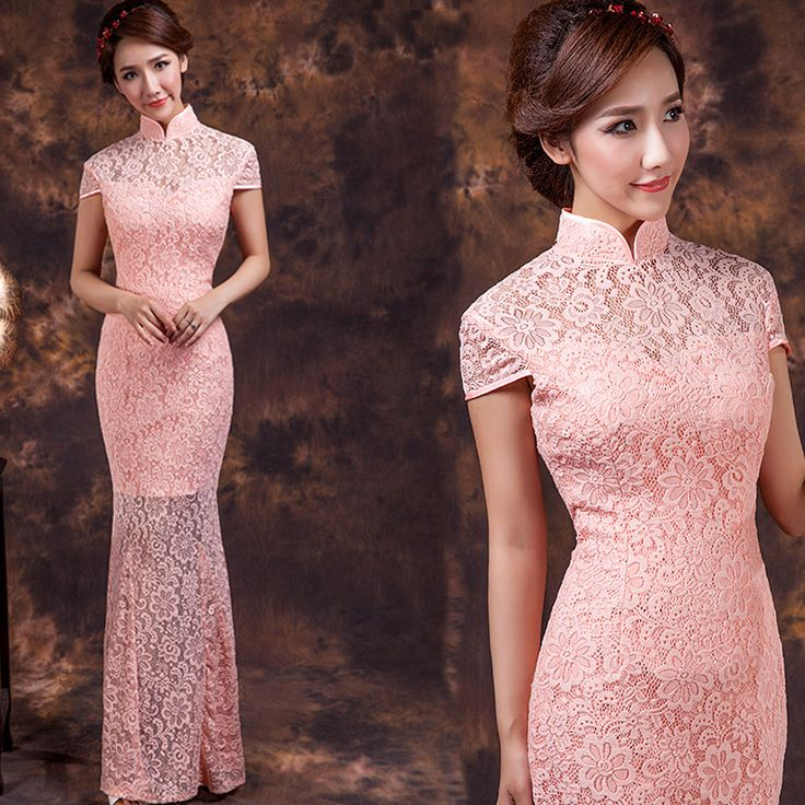Attractive Pink Lace Qipao Cheongsam Fishtail Dress - Qipao - Cheongsam - Women