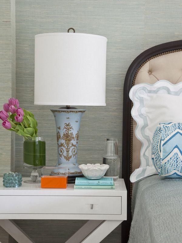 Seagrass Wallpaper | Bright Color | Tulip Vase | Bedroom Ideas | Bedside Tables | Nightstand Furniture | Home Design