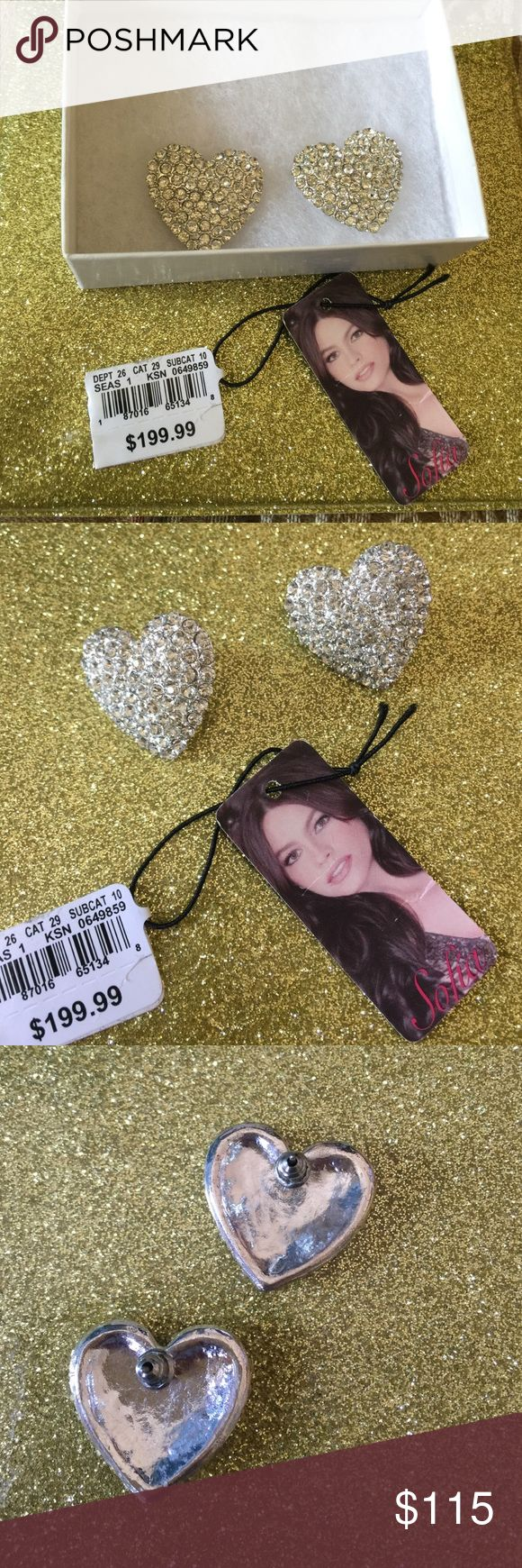 Plated CZ Earrings Never been used high quality white cubic zirconia earrings by Sofia Vergara no trade no LOWBALLS no modeling. Sofia vergada Jewelry Earrings