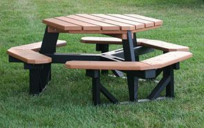 for updating picnic table: paint base black, sand and stain table ...