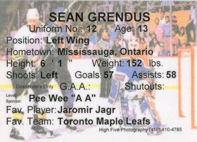 Sean's 1999 Streetsville Tigers Hockey Card (reverse)
