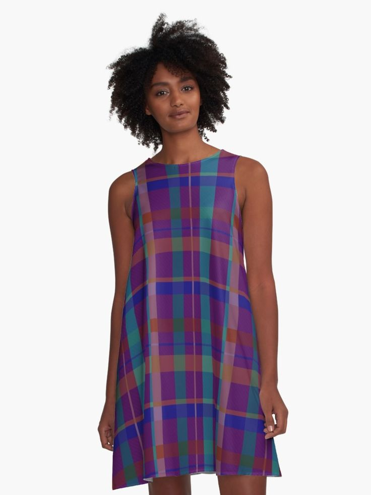 Purple Plaid design A-Line Dress by Scar Design • Also buy this artwork on apparel, stickers, phone cases, and more. #dress #fashion #style #giftsforher #family #women #woman #alinedress #modern #redbubble #scardesign #art #artist #shopping #online #design #clothing #modern #pattern #purple #plaid