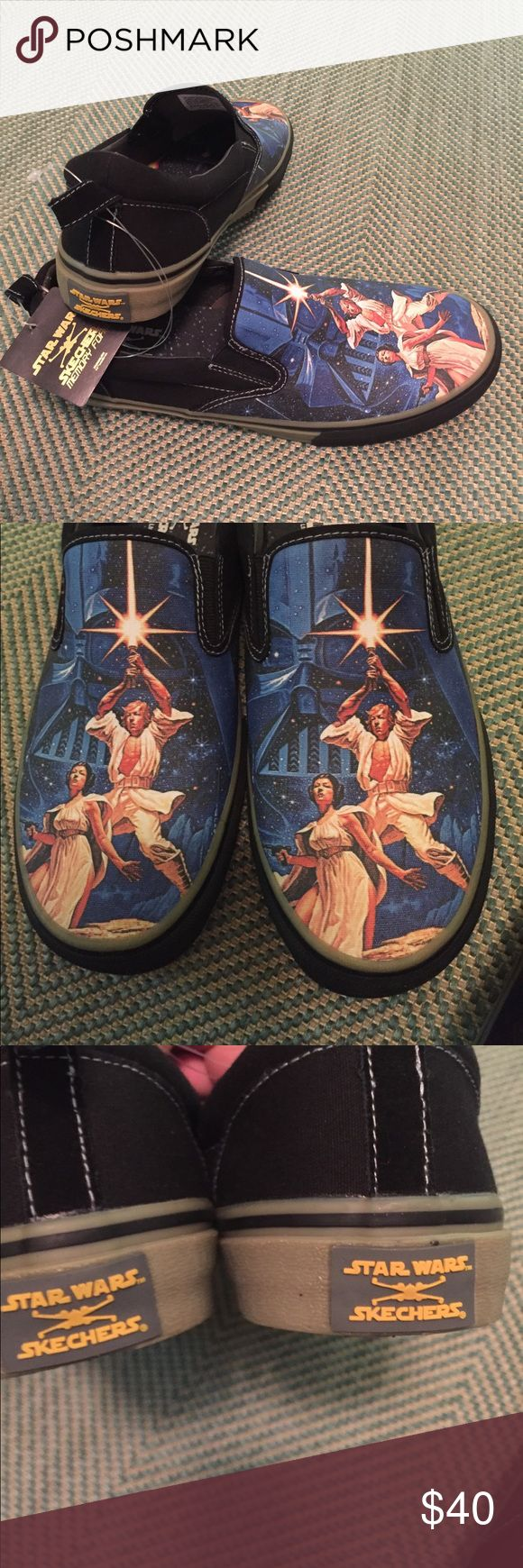 NWT Star Wars Memory Foam Skechers Shoes 9,9.5,10 Men's Skechers slip on shoes with a Star Wars design on toes. Memory Foam insole, new with tag. Available in 9,9.5 and 10. Skechers Shoes Sneakers