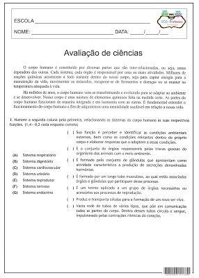 SOS PROFESSOR-ATIVIDADES: Corpo humano- Avaliação