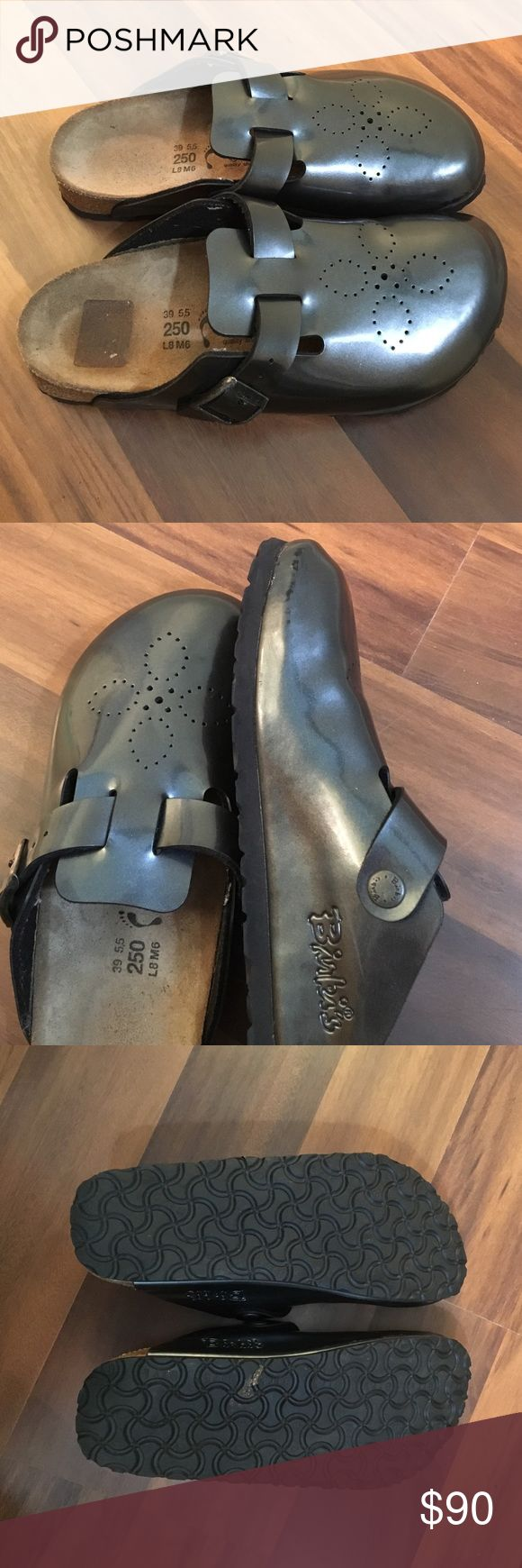 Birkenstock Mules, super cute!!! Super cute Birkenstock Mules! So much life left in these!!!! Pewter Grey with embossed flower on toes! Woman's 8!! I've never seen another pair of these! Birkenstock Shoes Mules & Clogs