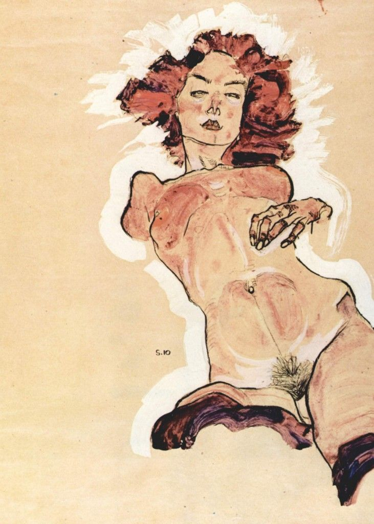 Egon Schiele - Female Nude  Egon Schiele was an Austrian painter. A protégé of Gustav Klimt, Schiele was a major figurative painter of the early 20th century. His work is noted for its intensity. The twisted body shapes and the expressive line that characterize Schiele's paintings and drawings mark the artist as an early exponent of Expressionism, although still strongly associated with the art nouveau movement. Brought to you by masterpieceart.net/
