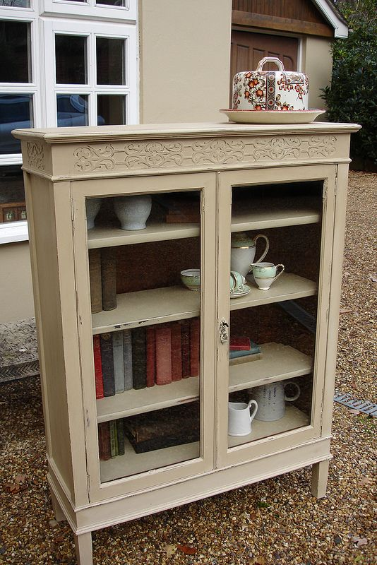 Clazed Bookcase In Annie Sloan S Country Grey Painted