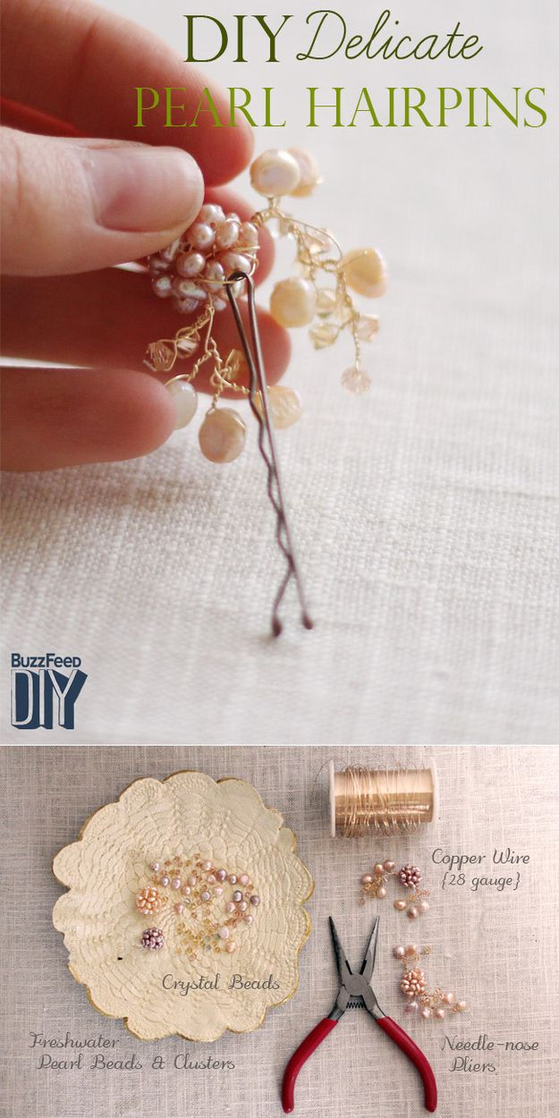 Style 5: Christy from One Handspun Day creates delicate pearl hairpins.