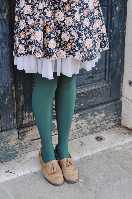 floral skirt, green tights, loafers, flats, shoes, style, fashion, underskirt