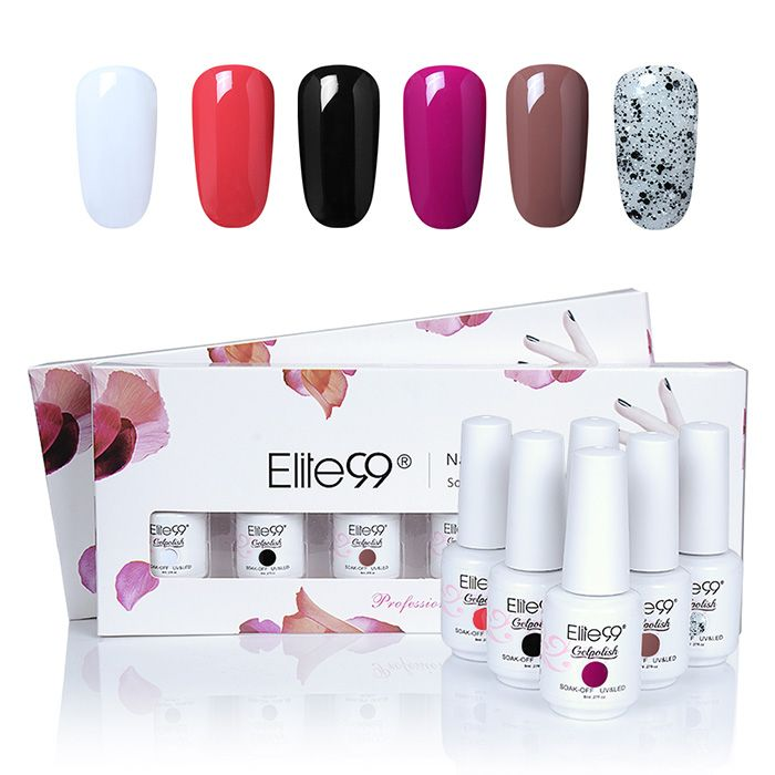 6 Colors LED UV Soak Off Elite99 Gel Nail Polish Set