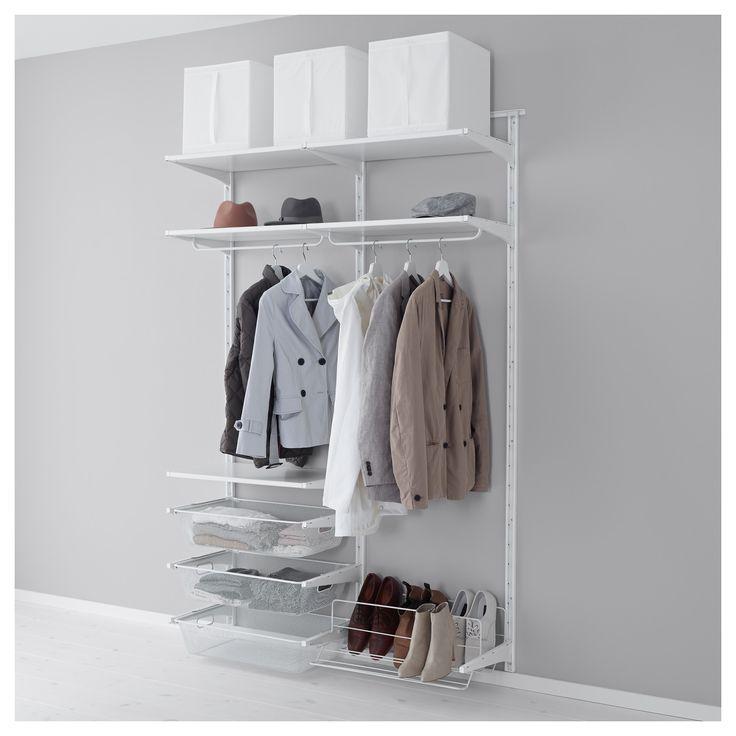 IKEA - ALGOT, Crémaillère/barre/organiseur chauss, Les éléments de la série ALGOT se combinent de nombreuses façons différentes et peuvent ainsi facilement s'adapter à vos besoins et à l'espace dont vous disposez.Comme les consoles, tablettes et accessoires se fixent par un simple clip, il est facile de monter, d'adapter et de modifier votre solution de rangement.Peut être utilisé partout dans la maison, même dans des endroits humides comme une salle de bain ou un balcon…