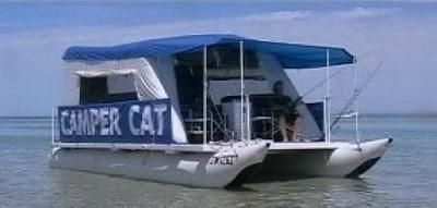 Camper Cat - inflatable trailerable pontoon houseboats: The new Camper Cat pontoon houseboat is a lightweight, low cost, inflatable trailerable pontoon boat that is being built in Australia. I decided to build