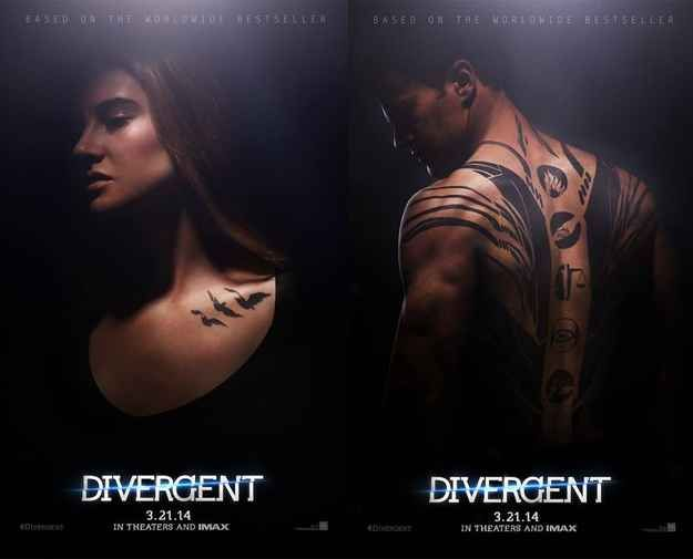 "Take a look at Tris and Four's awesome tattoos! | The First Official ""Divergent"" Movie Posters Have Been Revealed"