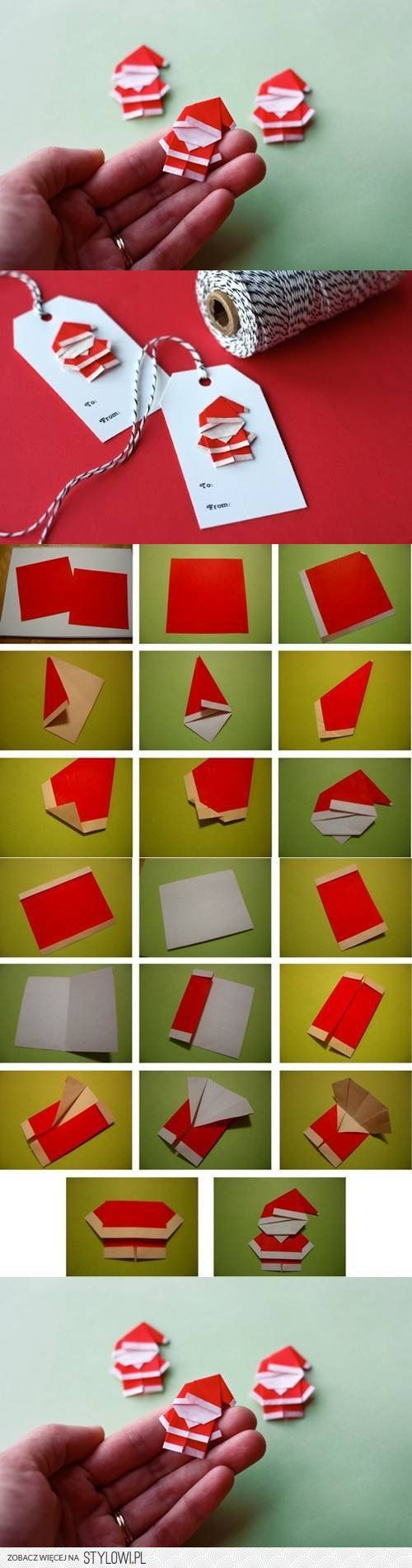 Como hacer un Santa Claus de origami.