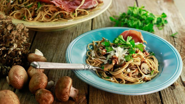 Mushroom and Shallot Spaghetti with Crispy Prosciutto