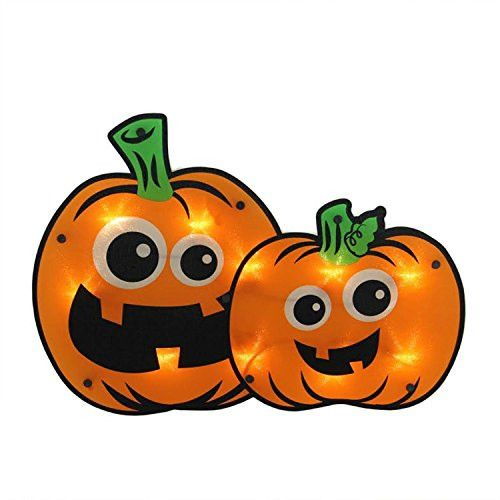 Felices Pascuas Collection 16.25 inch Lighted Jack-o-lantern Pumpkin Couple Halloween Window Silhouette Decoration