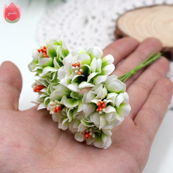 6 unids gradiente de seda estambre flor artificial hecho a mano ramo de la boda decoración del hogar diy scrapbooking corona de flores artificiales
