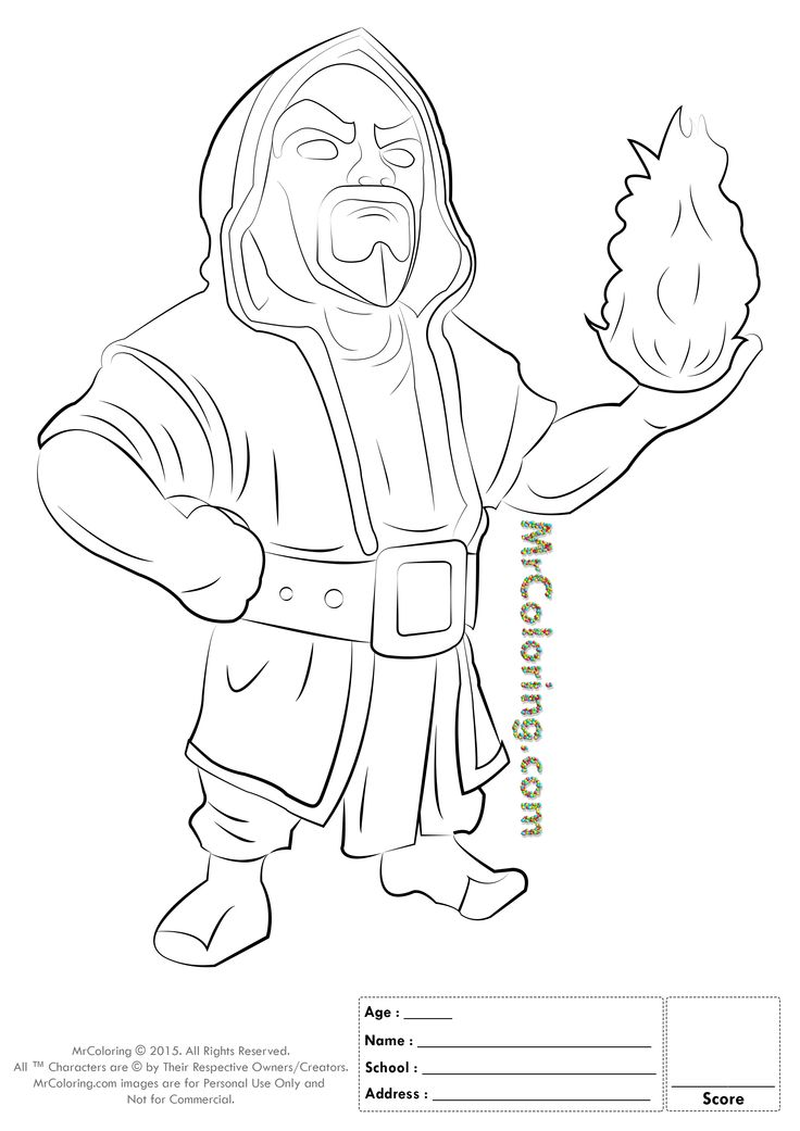 Free Printable Clash of Clans Wizard Coloring Pages - 1